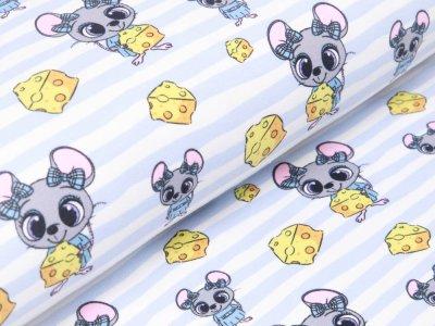 Sweat French Terry - Mäuse auf Streifen mit Käsestücken - weiß/blau