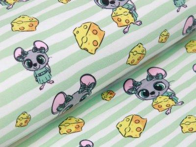 Sweat French Terry - Mäuse auf Streifen mit Käsestücken - weiß/mint
