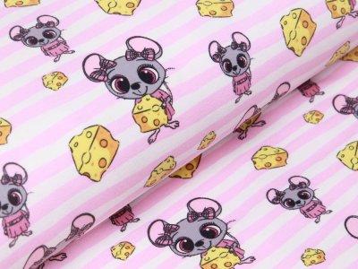 Sweat French Terry - Mäuse auf Streifen mit Käsestücken - weiß/rosa