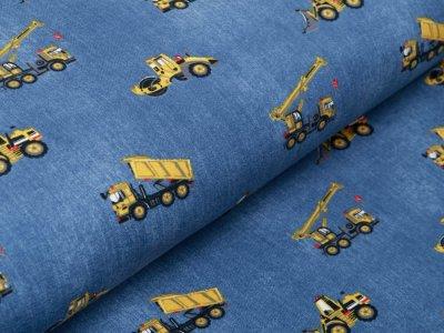 Jersey in Jeansoptik - Baufahrzeuge - jeansblau