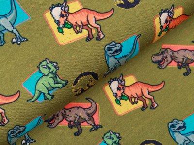 Jersey Digitaldruck Jurassic World - bunte Dinos - olivgrün