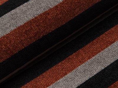 Chenille Strickstoff - breite Streifen - schwarz/grau/rost