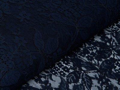 Italienische Hochwertige Spitze - Florales-Muster - nachtblau
