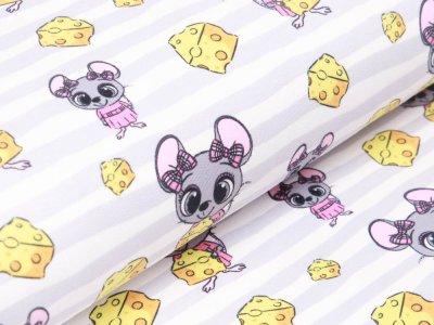 Sweat French Terry - Mäuse auf Streifen mit Käsestücken - weiß/grau
