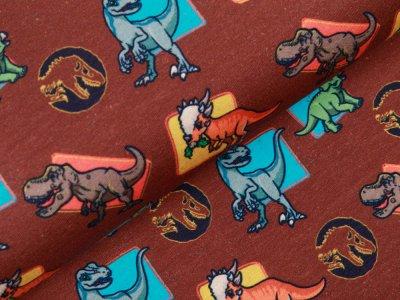 Jersey Digitaldruck Jurassic World - bunte Dinos - braun