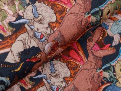 Sweat French Terry Digitaldruck Jurassic World - Dinos -dunkelblau