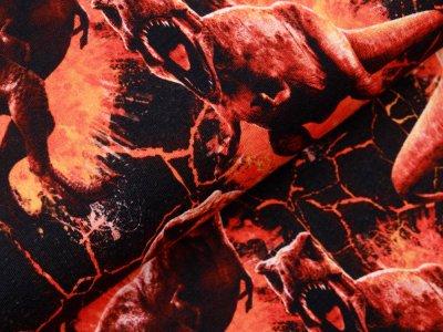 Sweat French Terry Digitaldruck Jurassic World - Dinos - schwarz / orange
