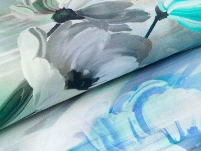Jersey Digitaldruck Stenzo - Frühlingsblumen - grau/mint