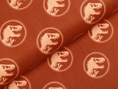 Webware Baumwolle Popeline Jurassic World - Dinos in Kreisen - rostbraun