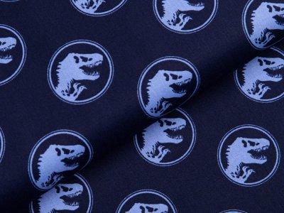 Webware Baumwolle Popeline Jurassic World - Dinos in Kreisen - nachtblau
