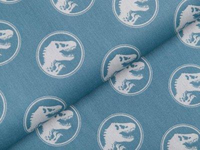 Webware Baumwolle Popeline Jurassic World - Dinos in Kreisen - altmint