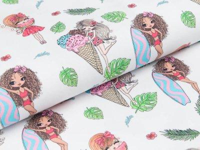 Jersey Digitaldruck Stenzo - Aloha Mädchen - weiß/rosa