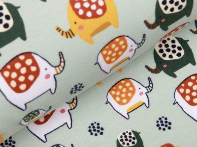 Angerauter Sweat Softtouch by Poppy - gepunktete Elefanten - pastellmint