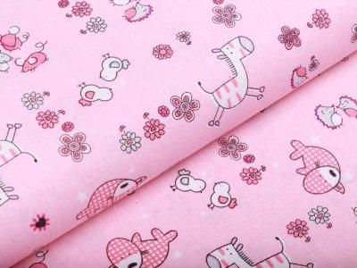 Webware Baumwolle - niedlich-gezeichnete Tiere - rosa