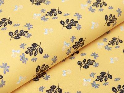 Webware Baumwolle - Blätterzweige - gelb