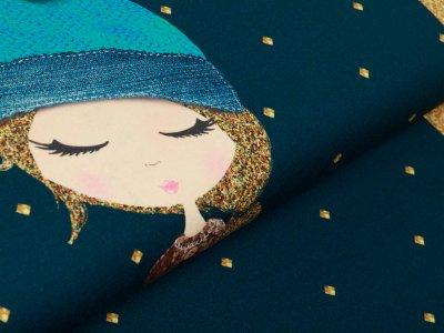 Sweat French Terry Digitaldruck Stenzo Lovely Dottie  PANEL ca. 75 cm x 150 cm - Mädchen - petrol/ocker