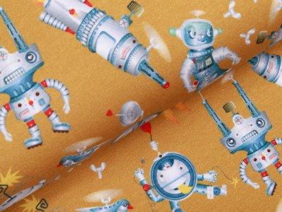 Sweat French Terry Digitaldruck - verrückte Roboter - ocker