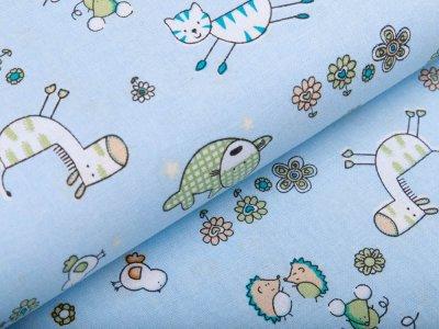 Webware Baumwolle - niedlich-gezeichnete Tiere - babyblau