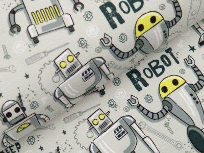 Sweat French Terry - verschiedene Roboter - pastellgrün