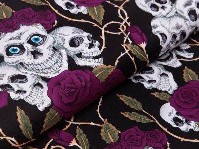 Webware Baumwolle - geblümte Skulls - schwarz/lila
