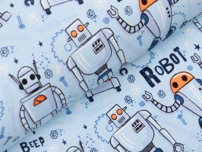 Sweat French Terry - verschiedene Roboter - pastellblau