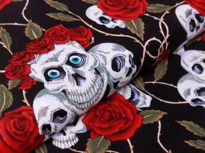 Webware Baumwolle - geblümte Skulls - schwarz/rot