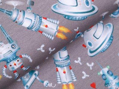 Sweat French Terry Digitaldruck - verrückte Roboter - grau