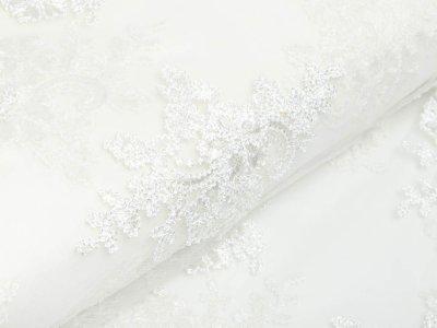 Italienische Hochwertige Spitze mit Stickerei - Florale-Ornamente - weiß