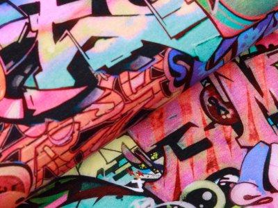 Sweat French Terry Digitaldruck - Graffiti - multicolor
