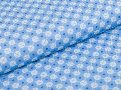 Webware Baumwolle Swafing Jasmin - kleine Kreise und Kreuze - blau