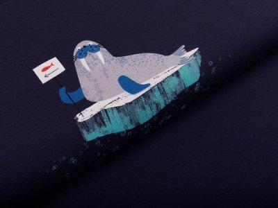 Sweat French Terry Little Darling PANEL ca. 70 X 160 cm - hungriger Seelöwe - marineblau