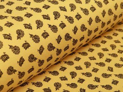 Jersey Piquè Print - Blätter - ocker