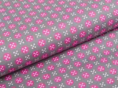 Webware Baumwolle Swafing Jasmin - kleine Kreise und Kreuze - grau/pink