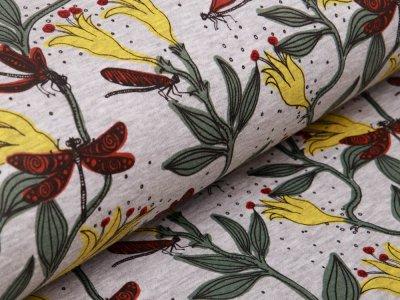 Alpenfleece - Blumen und Libellen - meliert  grau