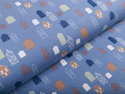 Sweat French Terry Little Darling - kleine Häuser - babyblau