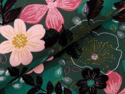 Angerauter Sweat Softtouch - wilde Blumen - altgrün