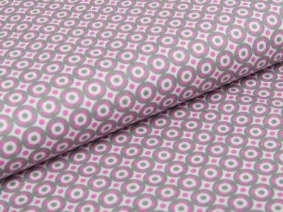Webware Baumwolle Swafing Jasmin - Kreise - grau/pink