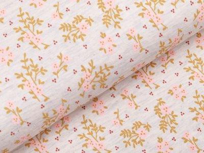 Jersey - Flower Power - meliert beige