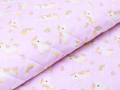 Französischer Rautenstepper Doubleface - Einhörner und Regenbögen - rosa