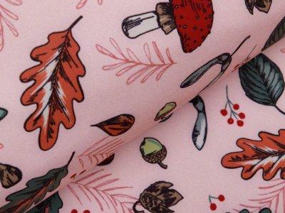 Softshell Jackenstoff - Herbstblätter und Pilze - altrosa