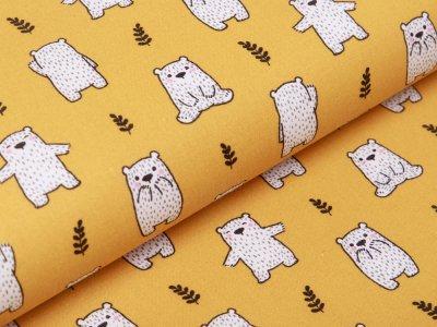 Französische Webware Baumwolle - Bären - ocker