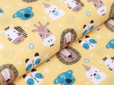 Französische Webware Baumwolle - Zootiere - gelb