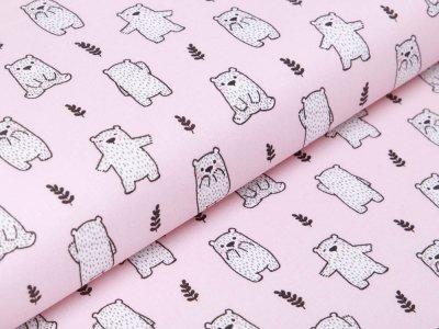 Französische Webware Baumwolle - Bären - rosa