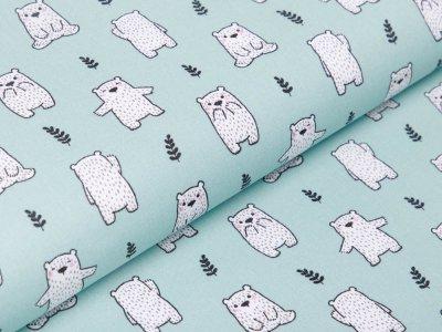 Französische Webware Baumwolle - Bären - mint