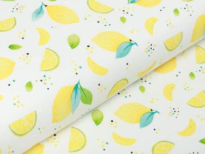 Jersey Swafing Sun & Lemon - Zitronen auf Punkten - weiß