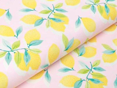 Jersey Swafing Sun & Lemon - Zitronen am Zweig - rosa