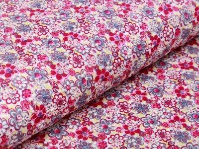 Webware Popeline Baumwolle mit Lochstickerei Broderie - Blumen - weiß/beere