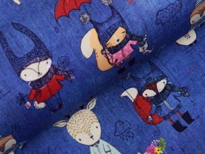 Sweat French Terry Fräulein von Julie - niedliche Tiere in Jahreszeiten - jeansblau