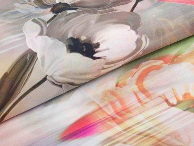 Jersey Digitaldruck Stenzo - Frühlingsblumen - grau/orange
