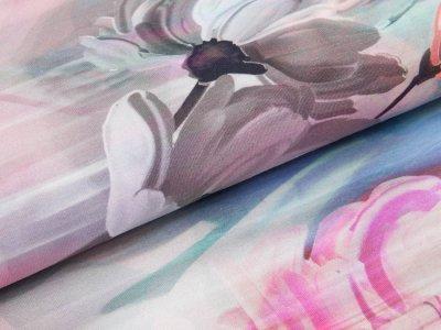 Jersey Digitaldruck Stenzo - Frühlingsblumen - grau/rosa